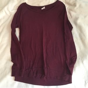 VS PINK Maroon Long Sleeved Tee